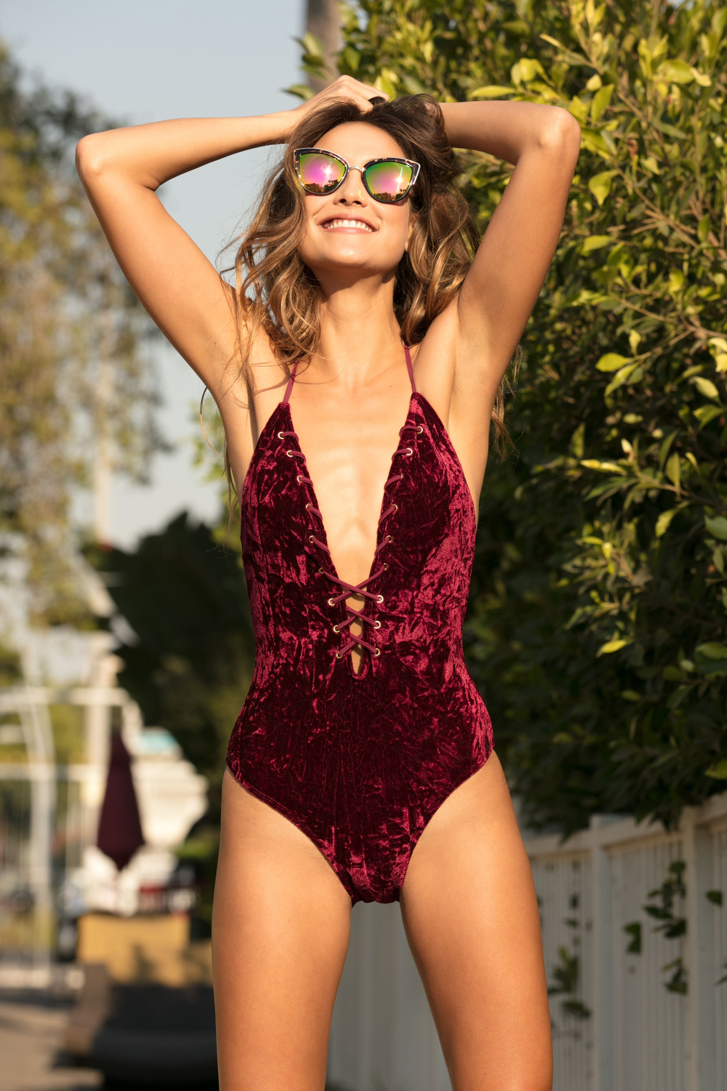 2616c4f8e4fb7 ... One Piece with Lace Up Detail - Cabana Del Sol. Elevate your swimwear  game with this crushed velvet swimsuit! #swimwear #swimsuit #fashion # shopping ...