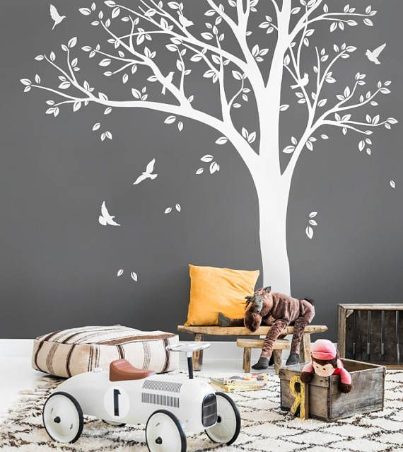 white tree wall decals nursery large wall decal baby room wall art