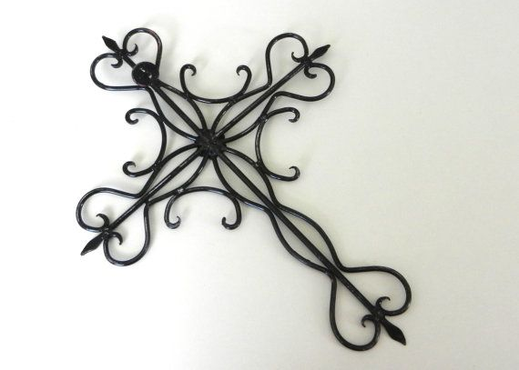 Black Cross Wall Hanging Ornate Wrought Iron By Juxtapositionsc