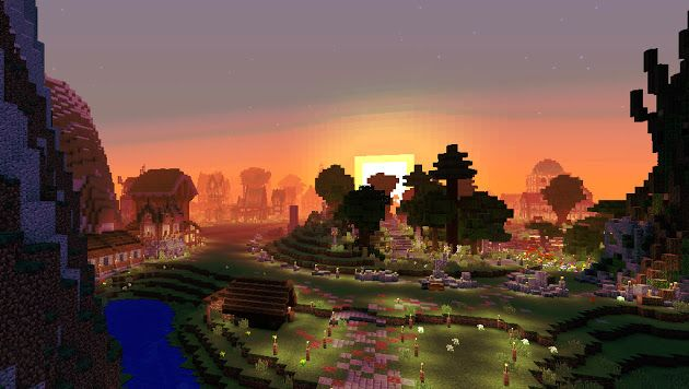 Minecraft Wallpaper Stype View From Main Base Minecraft Sunset