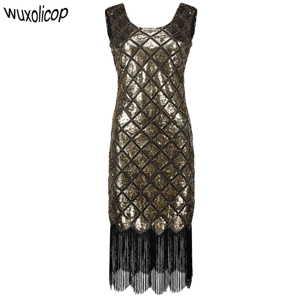 6940e6aa7f8 1920s Flapper Gatsby Gala White V Neck Sequin Fringe Party Dress ...