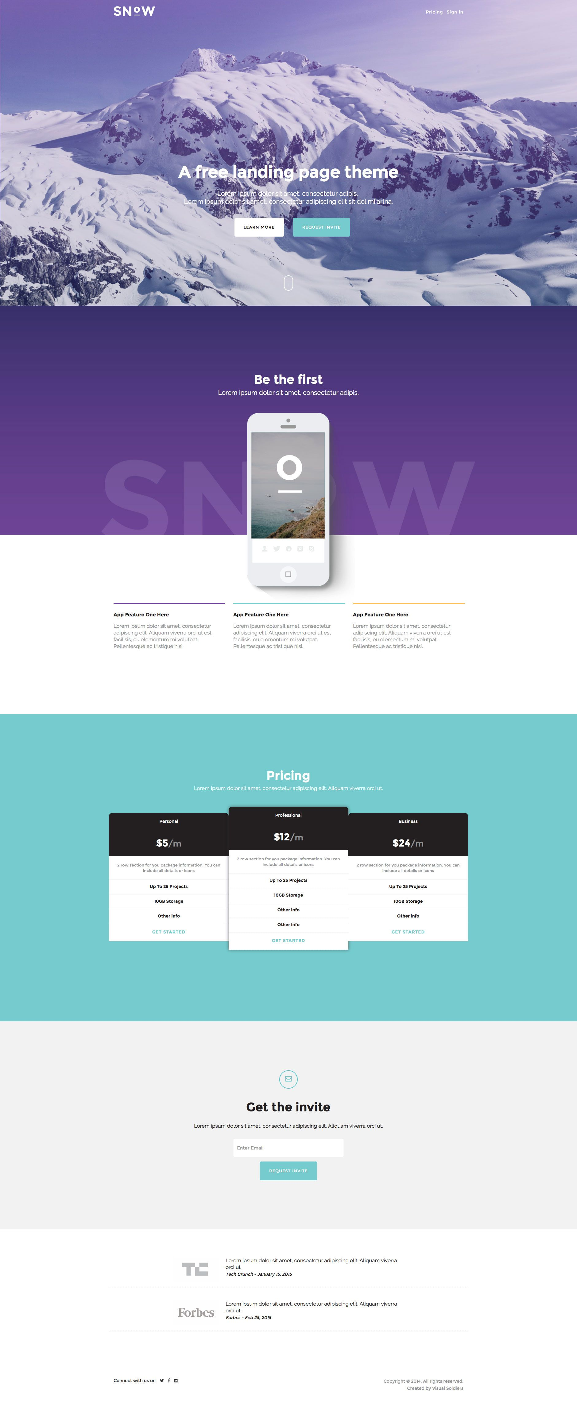 Snow is a free HTML5 Bootstrap Landing website template created ...