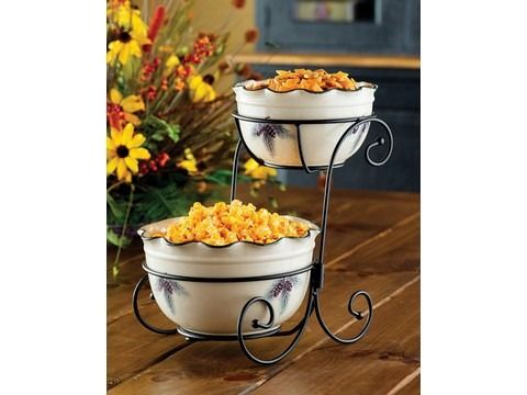"""DOUBLE SERVING BOWL METAL STAND  Create a unique look for your buffet when you use our metal serving bowl stand to hold any of our unique serving bowls. 14 x 9¾ x 12"""" $29.00"""