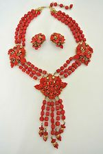 Vintage Stanley Hagler Lucite korál přívěšek korálkový náhrdelník set