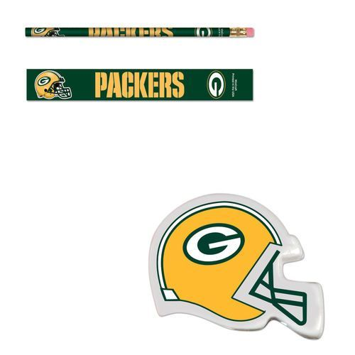 Green Bay Packers Six (6) Erasers and Six (6) Pencils