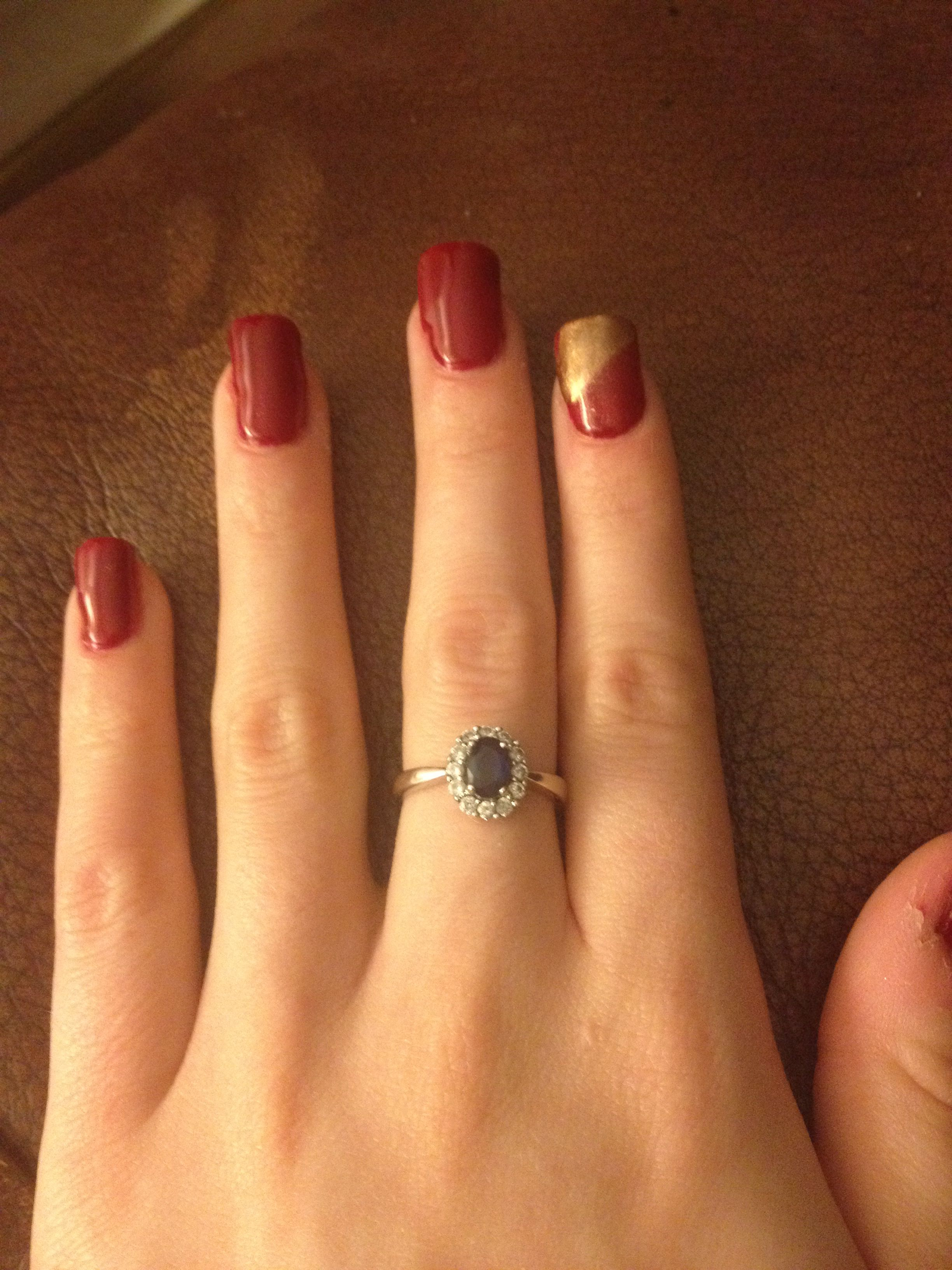 Red baroness and antique bronze additive | Nail fun | Pinterest