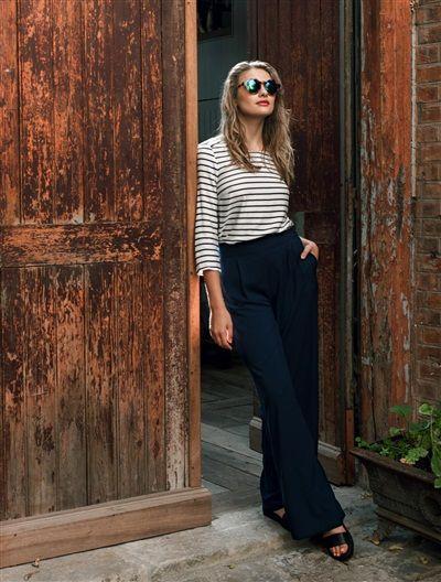 pantalon large marine femme
