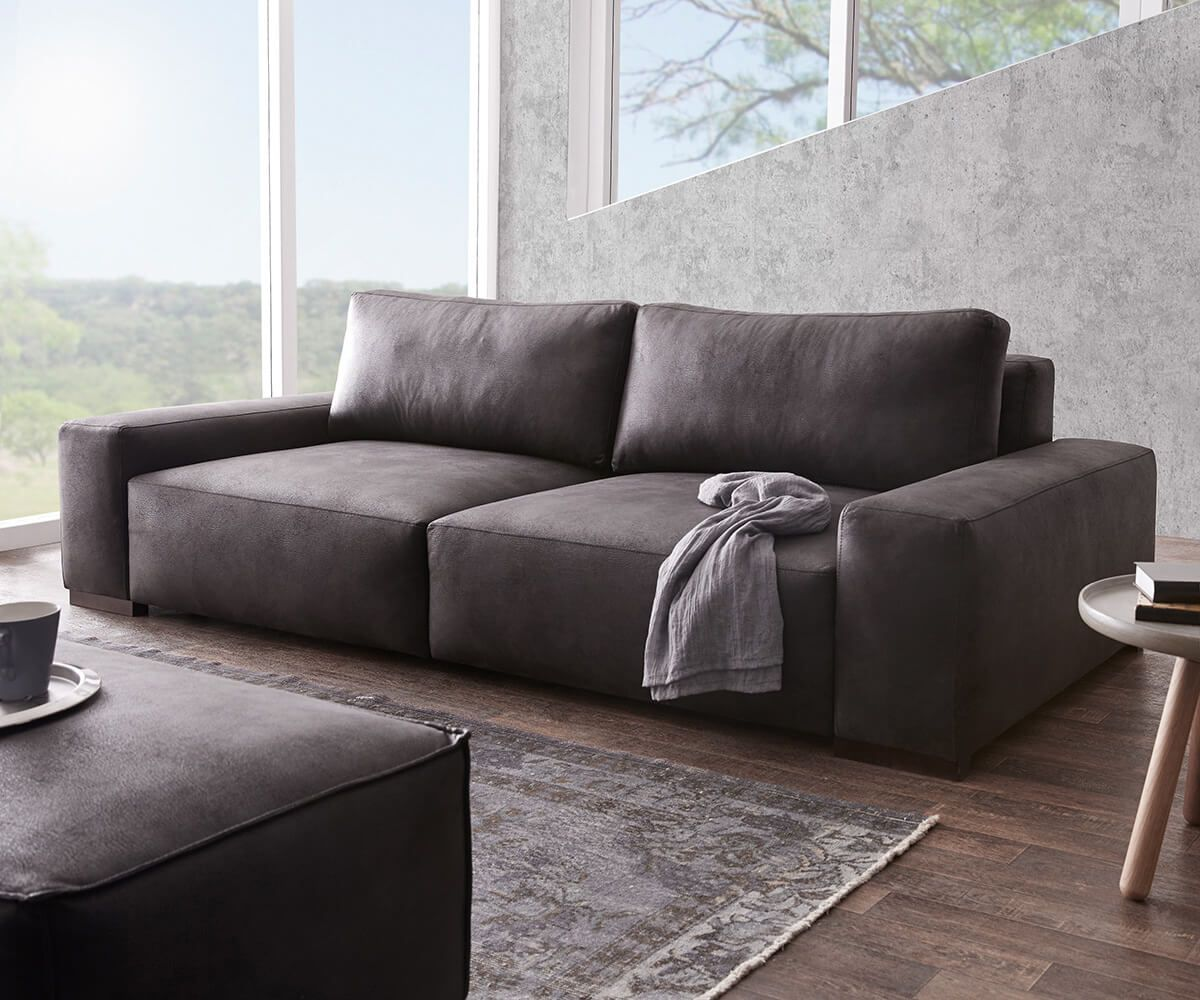 Delife Big Sofa Lanzo 270x125 Cm Anthrazit Vintage Optik