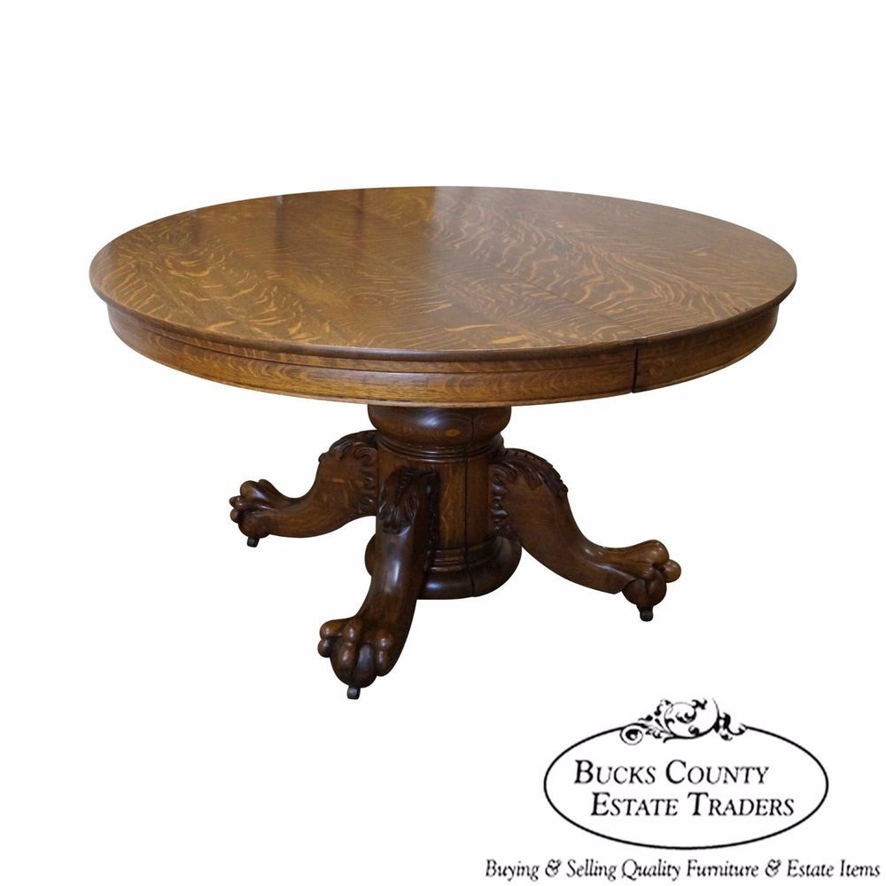 Hastings Antique Solid Oak Round Claw Foot Dining Table Dining