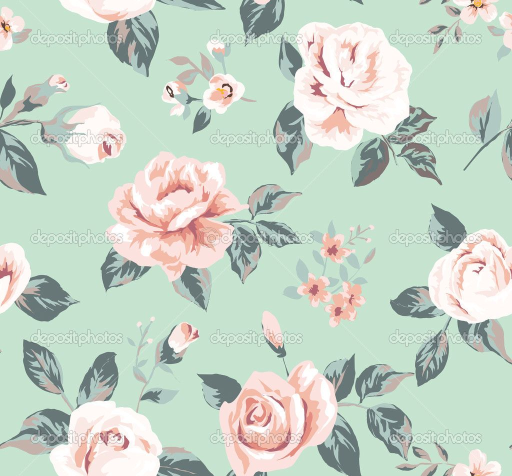 Classic wallpaper seamless vintage flower pattern on green ...