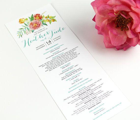 Floral Wedding Program Watercolor Floral Wedding Ceremony Program