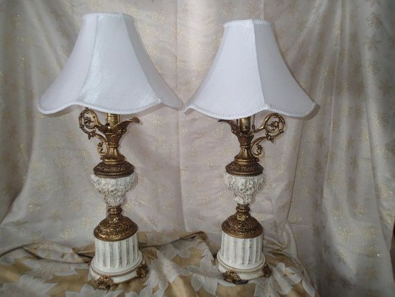 Vintage 1930s Table Lamps Ornate Mystical Ewer Lampz With Dragon Handle Art Nouveau Mystical Lamp Vintage Lamps Antique Lamps