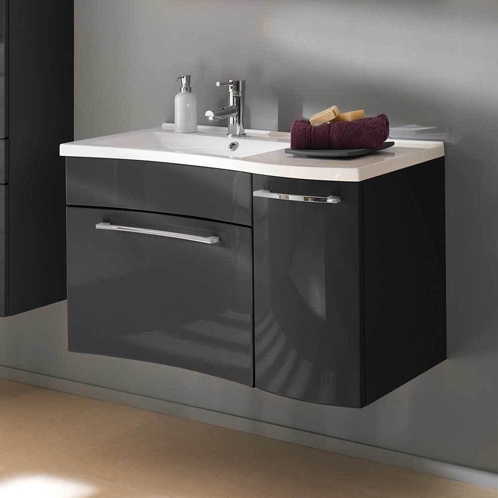 Badezimmer Waschbeckenschrank In Anthrazit Hochglanz Hängend Jetzt  Bestellen Unter: ...