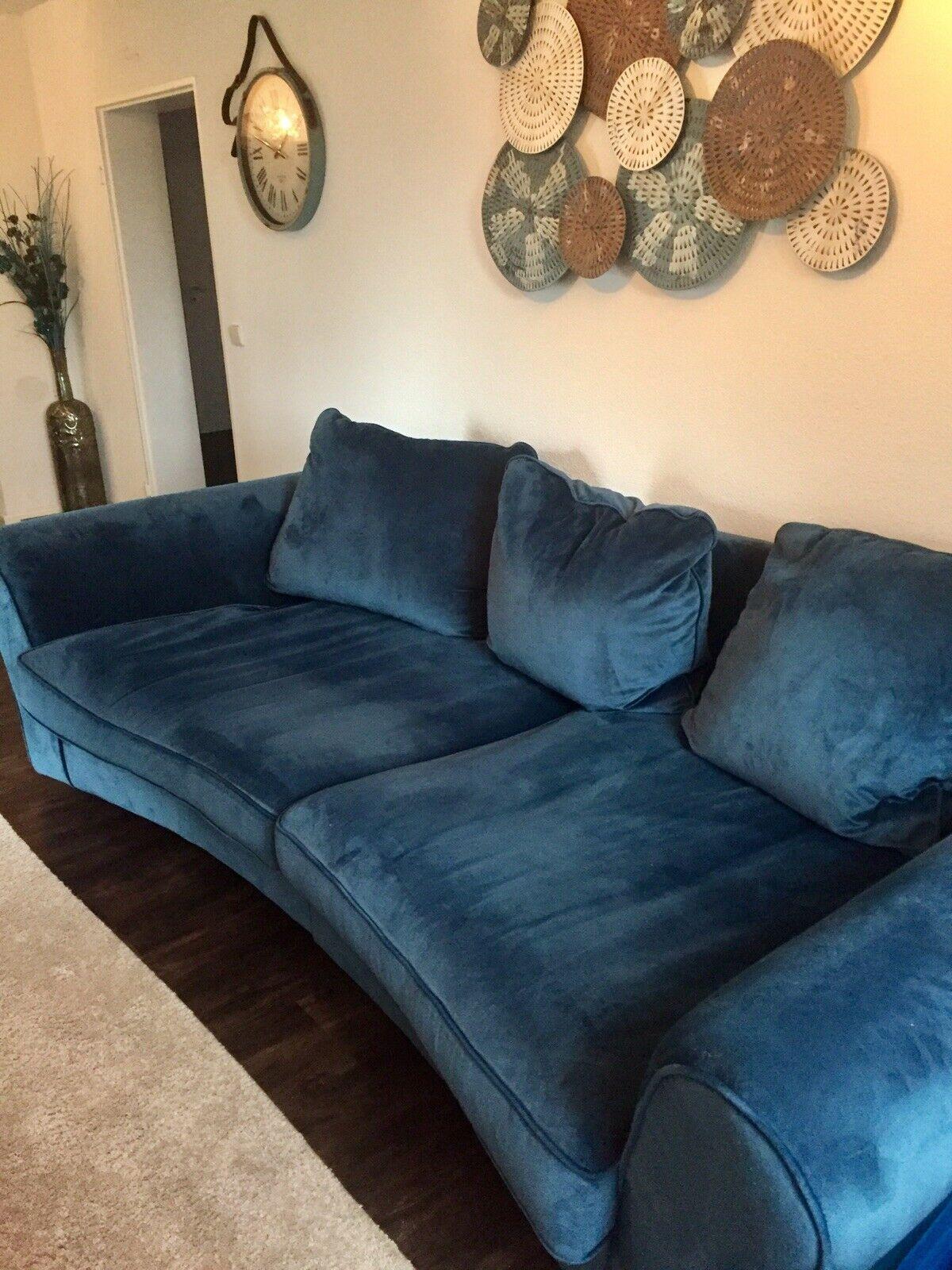 Big Sofa Couch Petrol Blau Samt Sitzgarnitur Ebay Sofa Sessel Sofa Couch Haus Deko