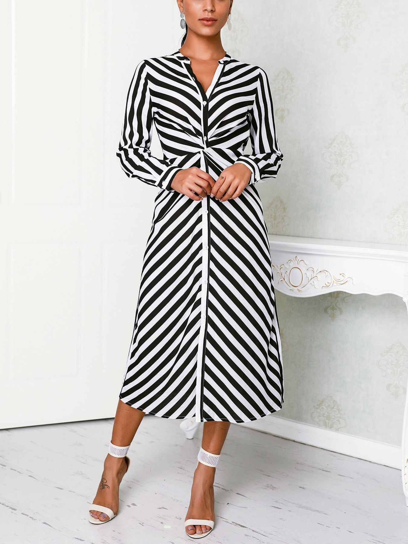 Contrast Stripes Button Up Ruched Shirt Dress In 2019 Thida