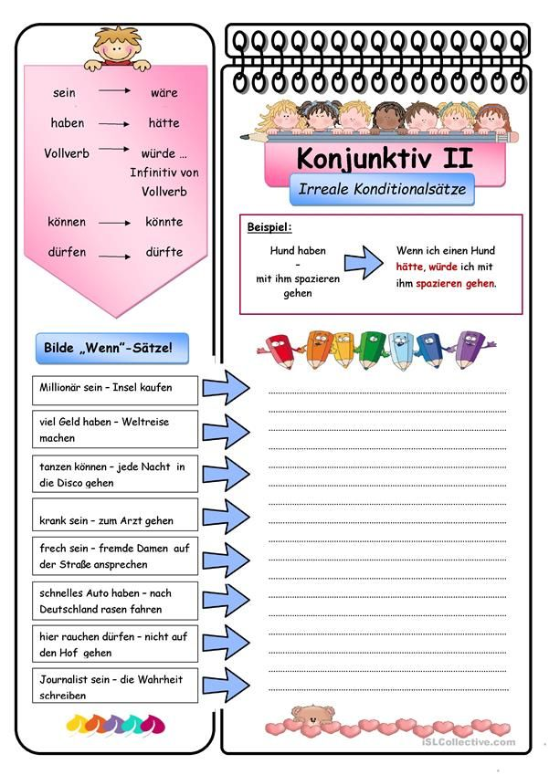 konjunktiv ii bildung pinterest worksheets and homeschool. Black Bedroom Furniture Sets. Home Design Ideas