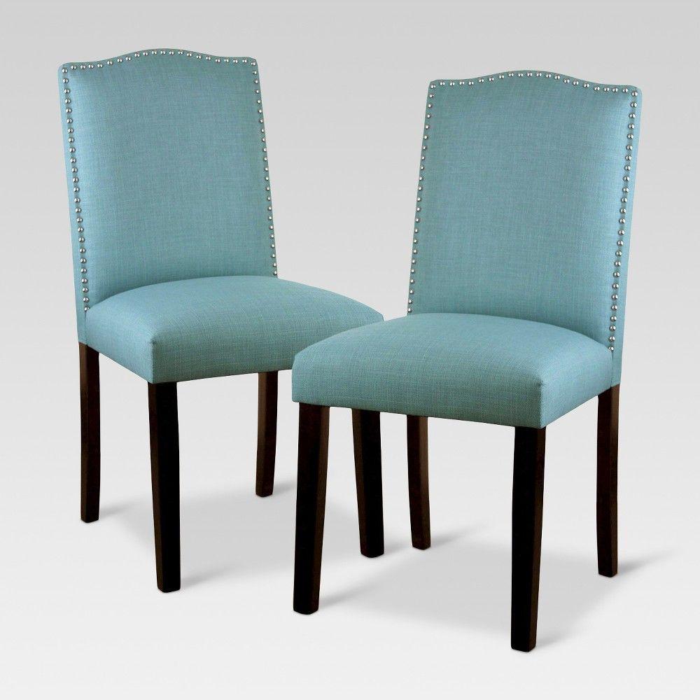T geformte kücheninsel-designs mit sitzgelegenheiten camelot nailhead dining chair  light blue set of   threshold in