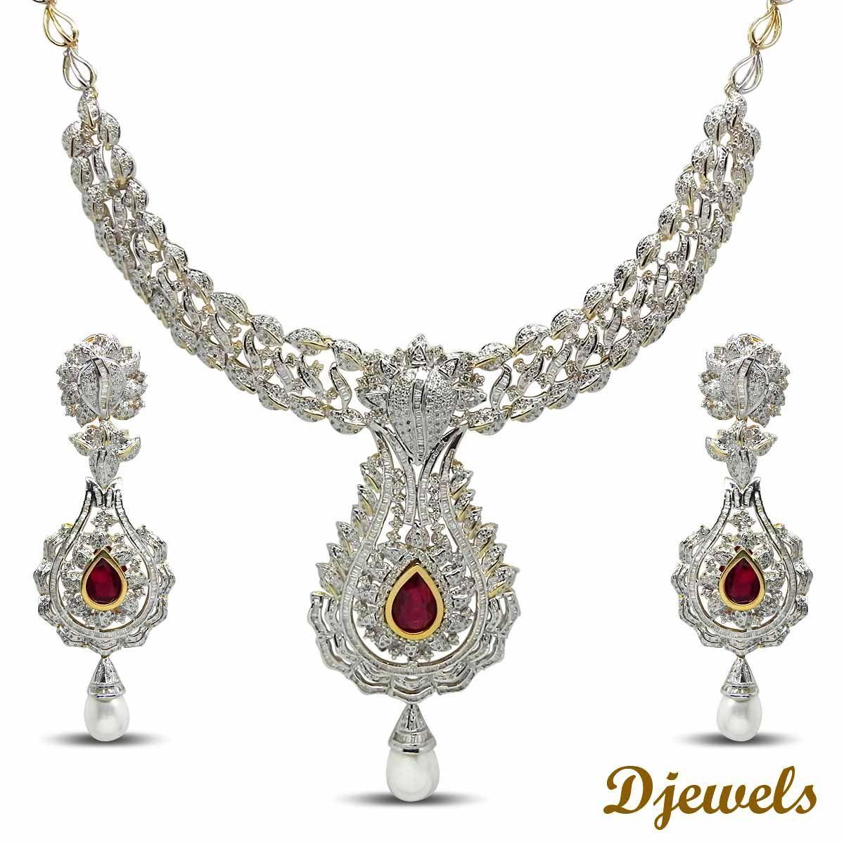 Diamond necklace set gorgeous u beautiful designer diamond necklace