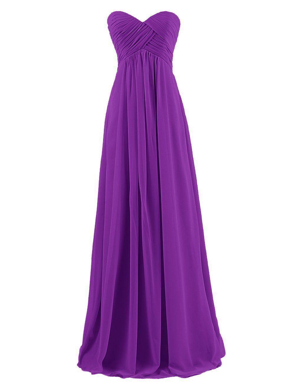 Modec womens sweetheart chiffon bridesmaid long prom dress purple