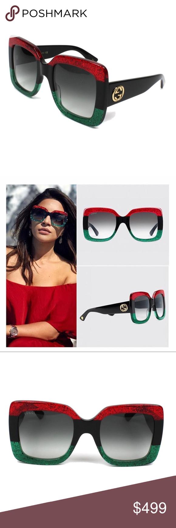 de3e9957282 GUCCI Large square Sunglasses Glitter Red   Black GUCCI Large square  Sunglasses Glitter Red