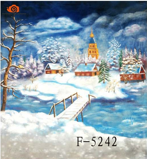 96.90$  Watch here - http://aliis5.worldwells.pw/go.php?t=32722477924 - New arrival 10' X 20'/3X 6m winter Snow Scenic photographic background,hand Painted Muslin photography backdrops christmas F5242