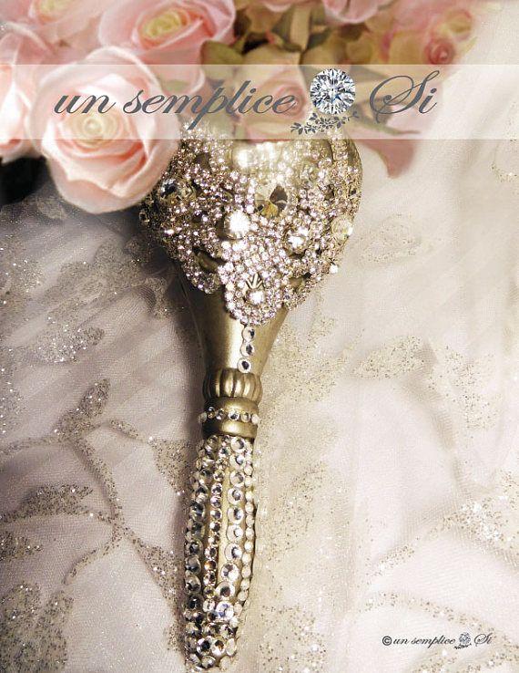 Gold Rhinestone Bouquet Holder,Rhinestone Crystal Bouquet, Brooch ...