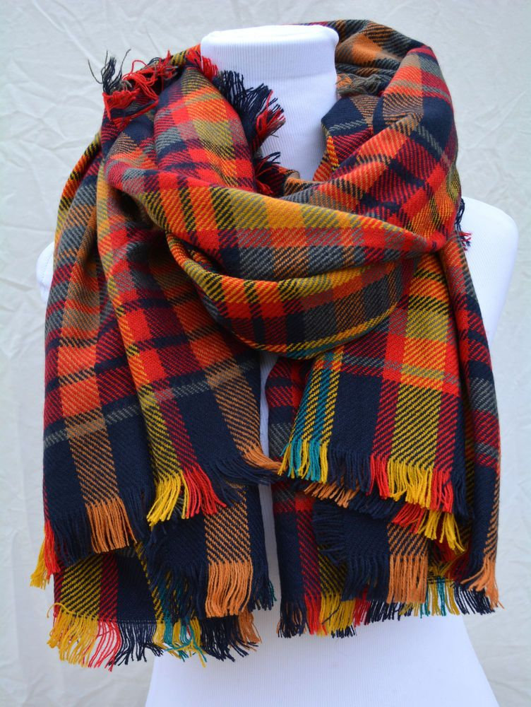 Blogger Favorite  Blanket  Orange Yellow Tartan Checked Plaid Scarf Shawl Wrap #Otherbrand #ShawlWrap