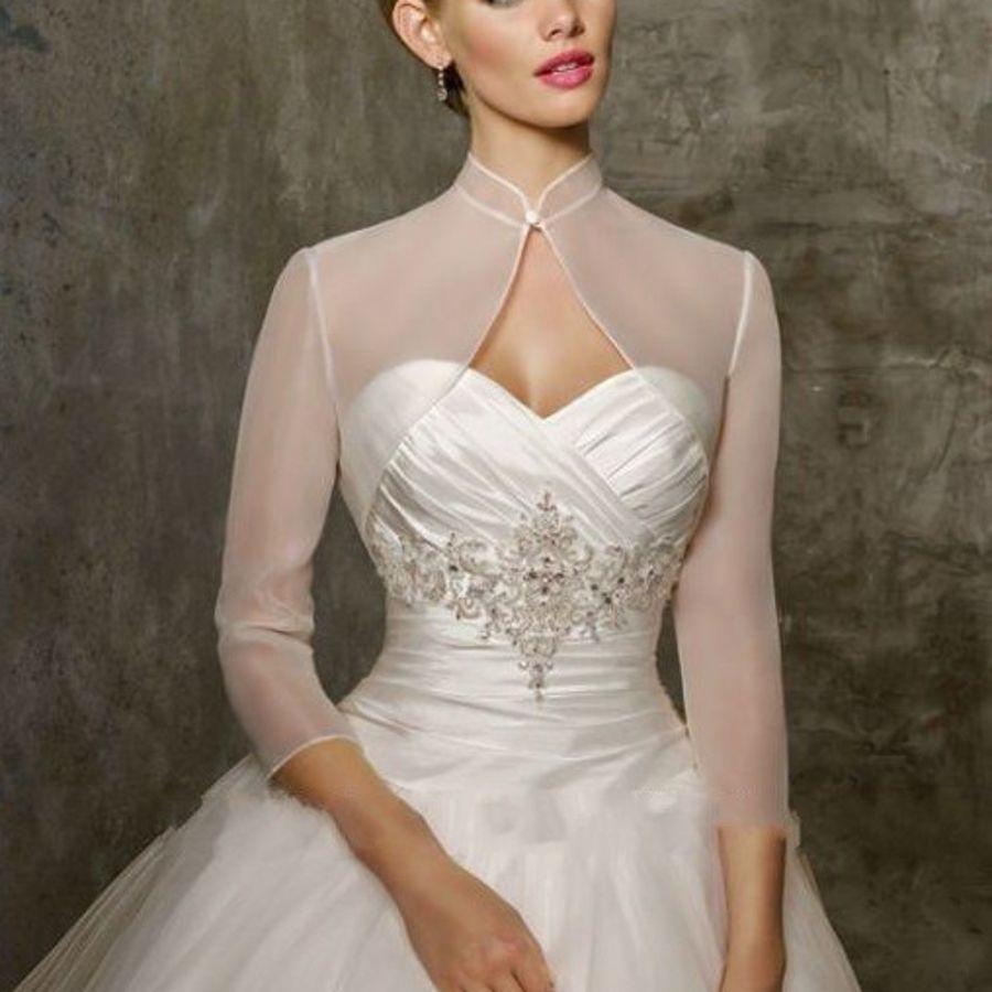 Bolero For Prom Bridal Dresses Three Quarter Sleeves Bridal Wraps High Neck  Organza Bridal Evening Jacket