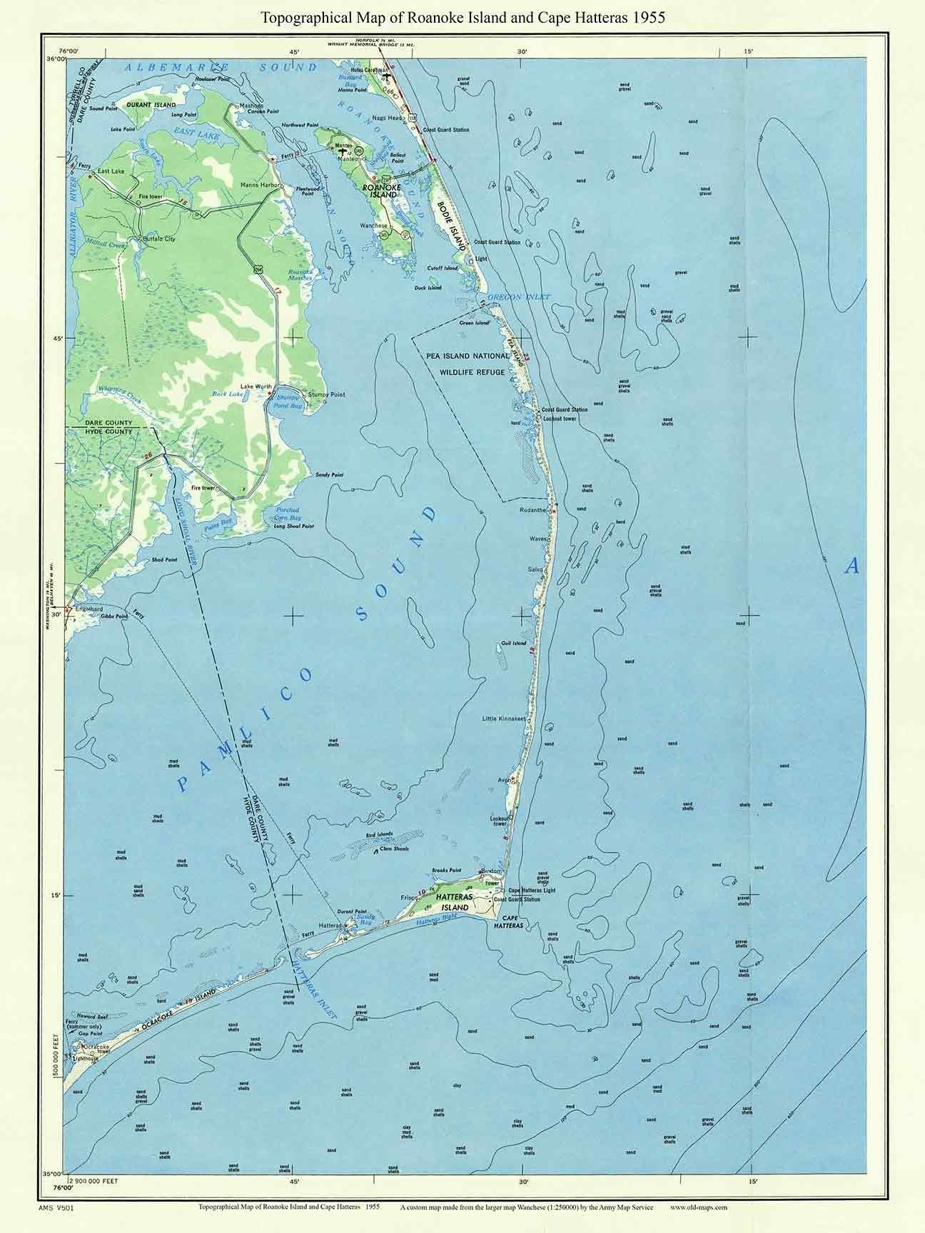 Roanoke Island Cape Hatteras 1955 Map Topographic Usgs Custom Reprint North Carolina 1x2