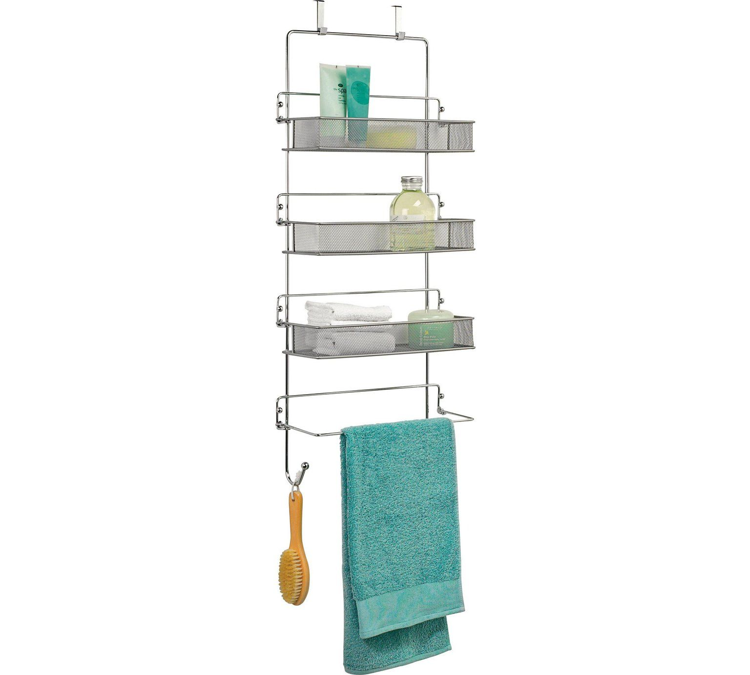 Buy Argos Home 3 Tier Chrome Over Door Organiser Overdoor Storage Argos Door Organizer Bathroom Storage Units Over Door Towel Rack