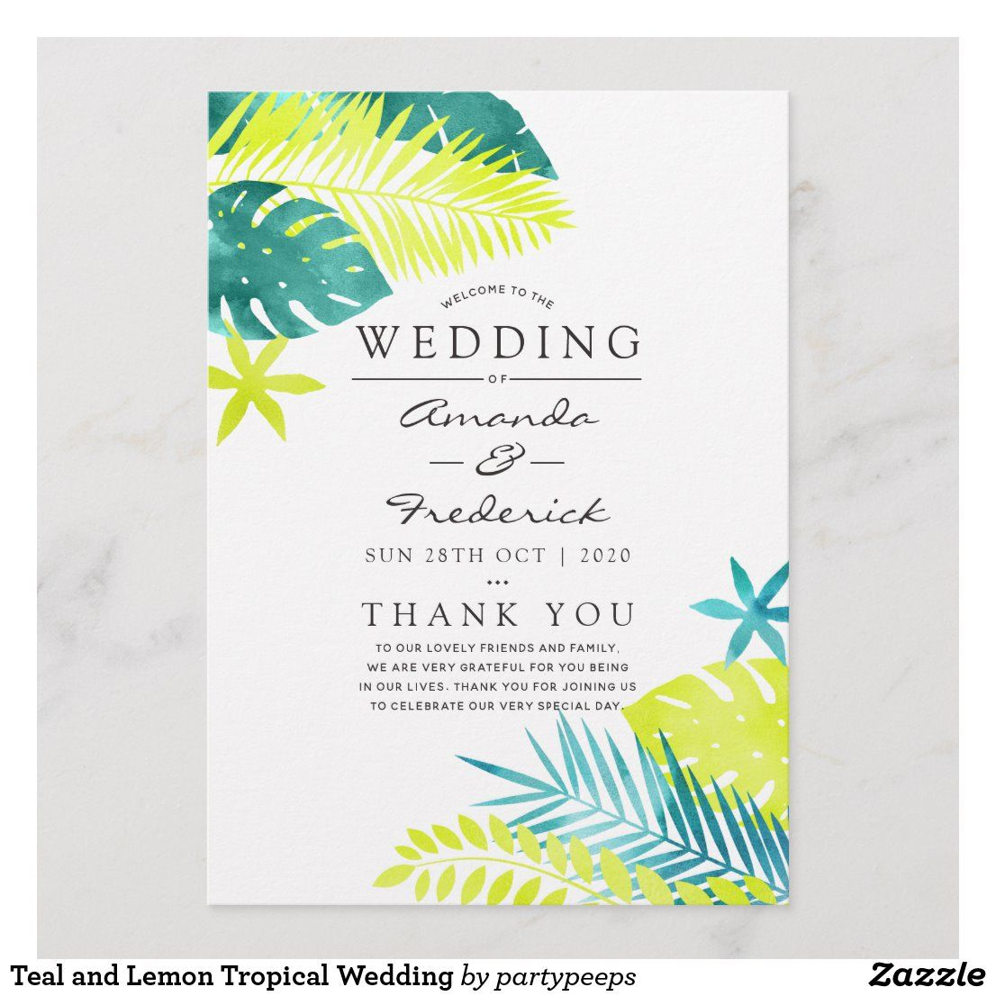 Teal and Lemon Tropical Wedding Program in