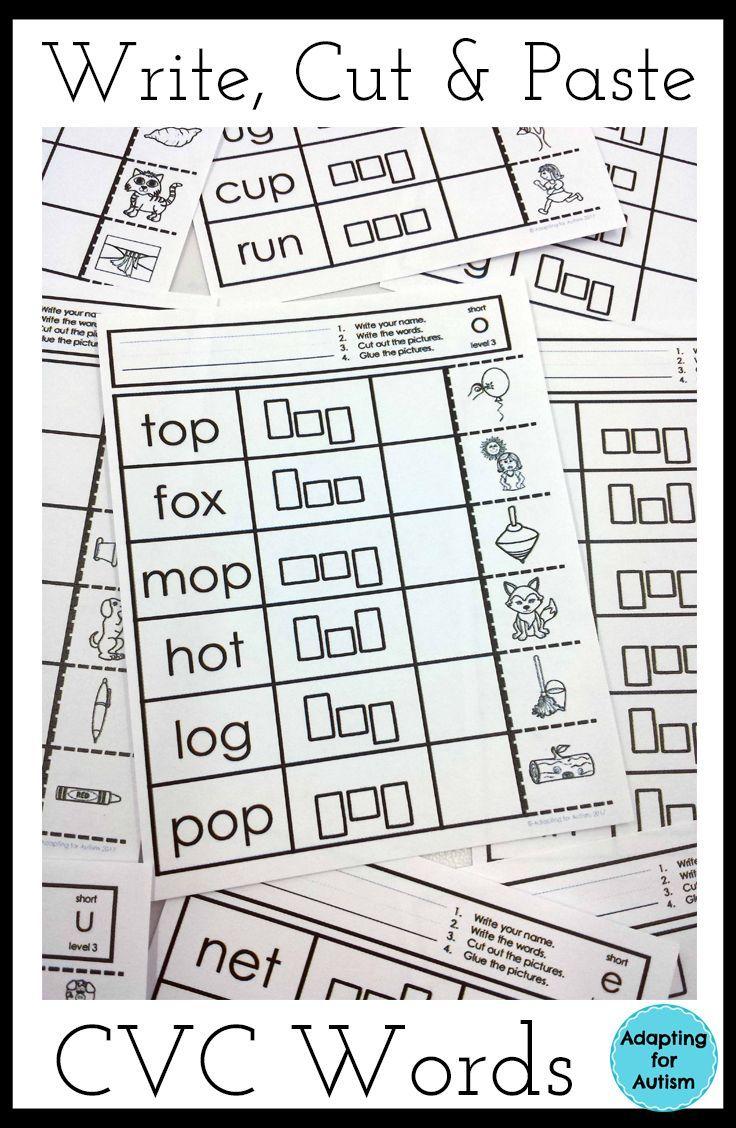 worksheet Cvc Word Worksheets cvc words worksheets no prep write cut and paste activities activities