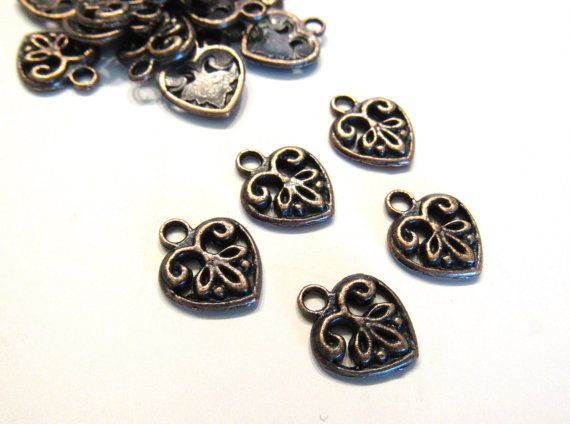 Copper Heart Charms 12mm Beads (25) Antique Copper Victorian Pewter Findings Drops Beads Wholesale Jewelry Supply CrazyCoolStuff