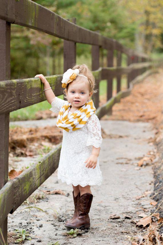 Small Mustard Yellow Gold on White Jersey Knit Chevron Infinity ... 0762b836e