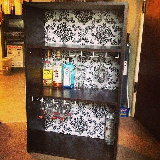 Liquor cabinet made from a bookshelf diy liquor for Diy liquor bar