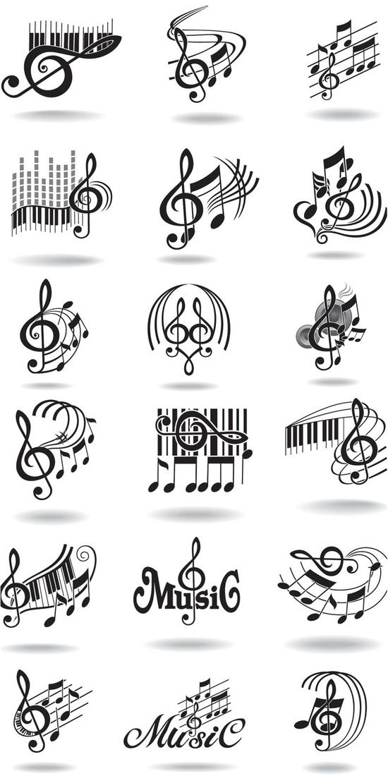 Notes, music staff and treble clef vector Teaching Music