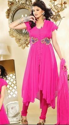 Adorable Deep Pink Chudidar Kameez