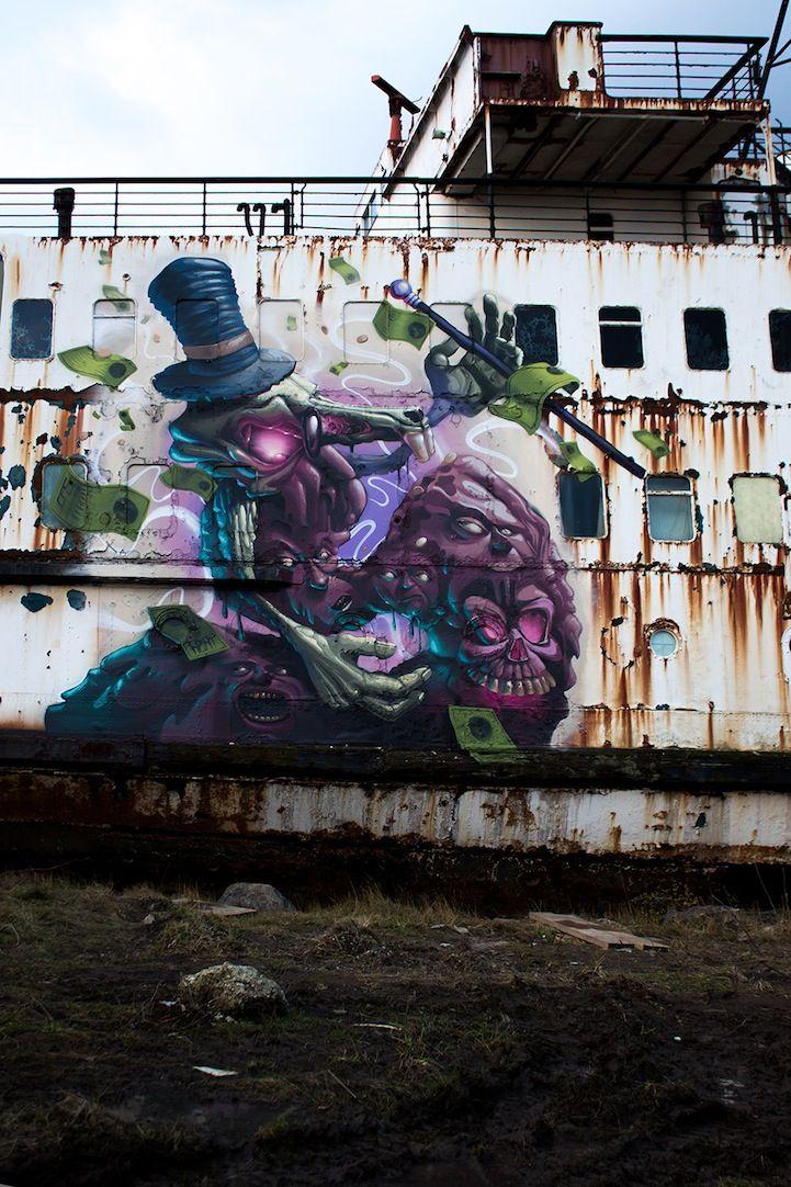 Huge Abandoned Ship Transformed into a Graffiti Gallery - My Modern Metropolis