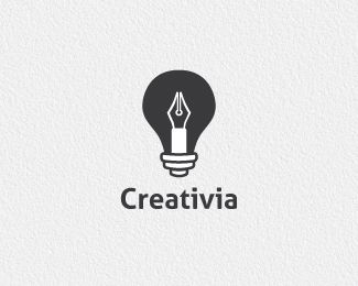 Creative logo that combines a pen with a light bulb