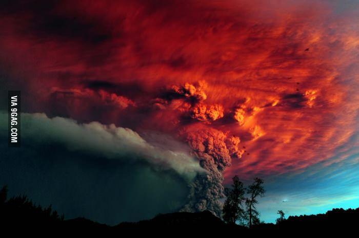 Volcanic Eruption at sunset
