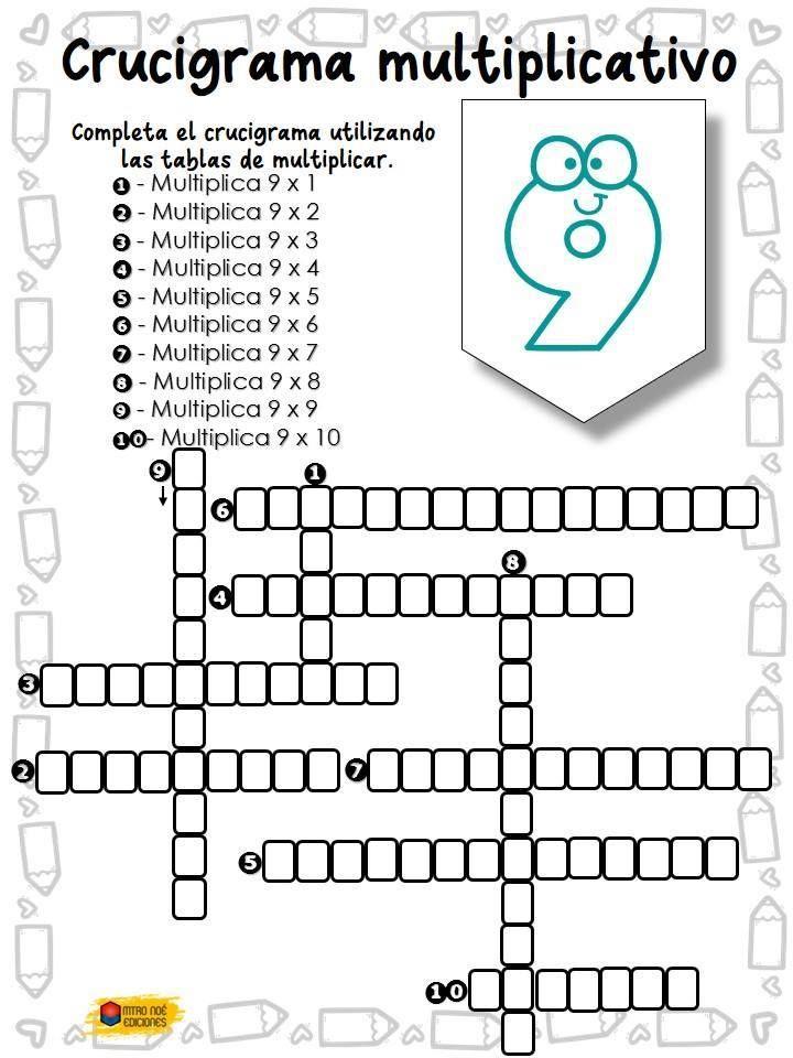 Crucigrama multiplicativo (8 | tareas para niños ...