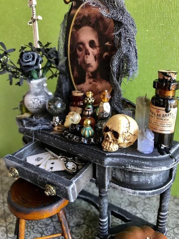Miniature Halloween Vanity, haunted dollhouse furniture, artisan miniatures #haunteddollhouse