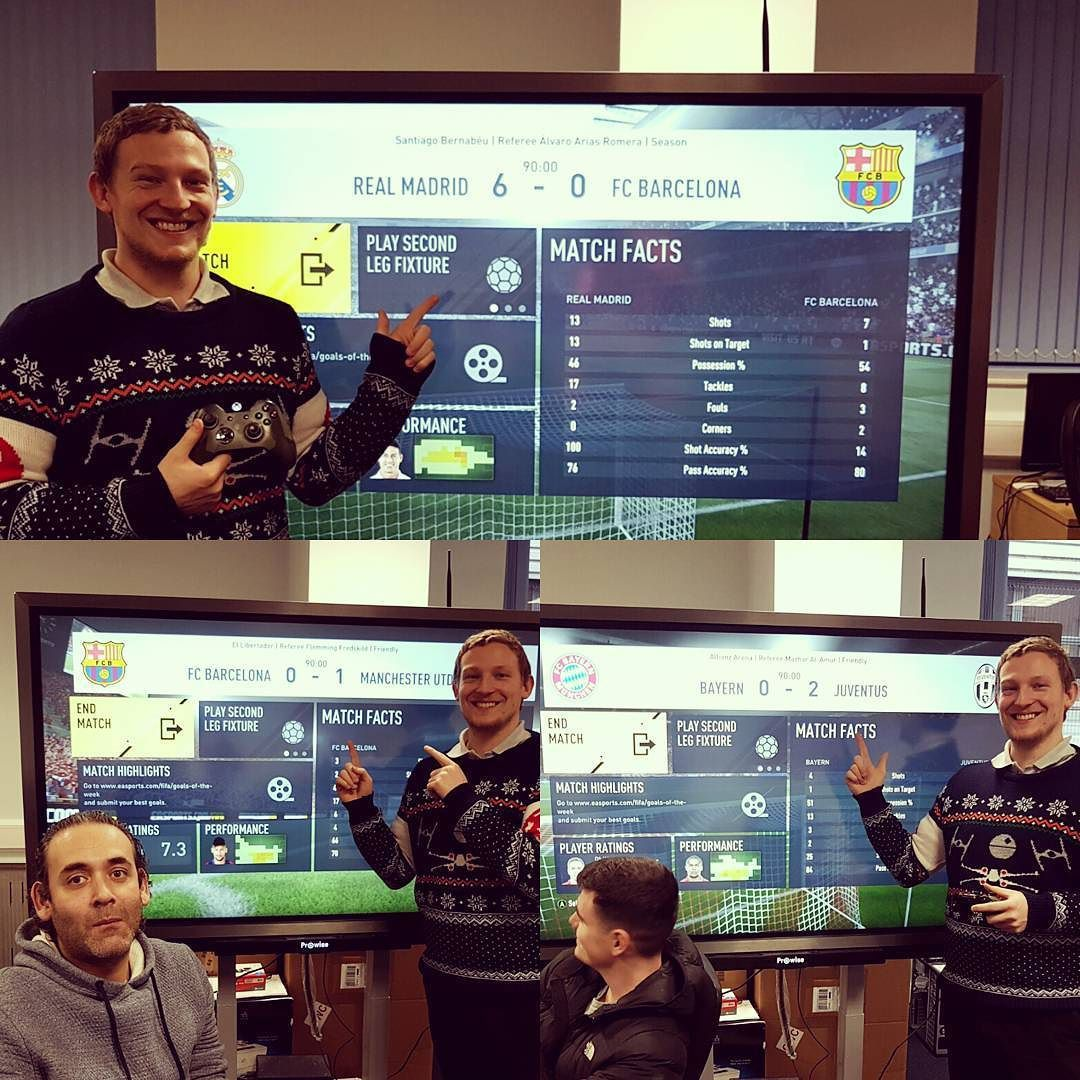 xmas eve fifa xbox challenge was won by the helpdesk! (sales 0 - 3