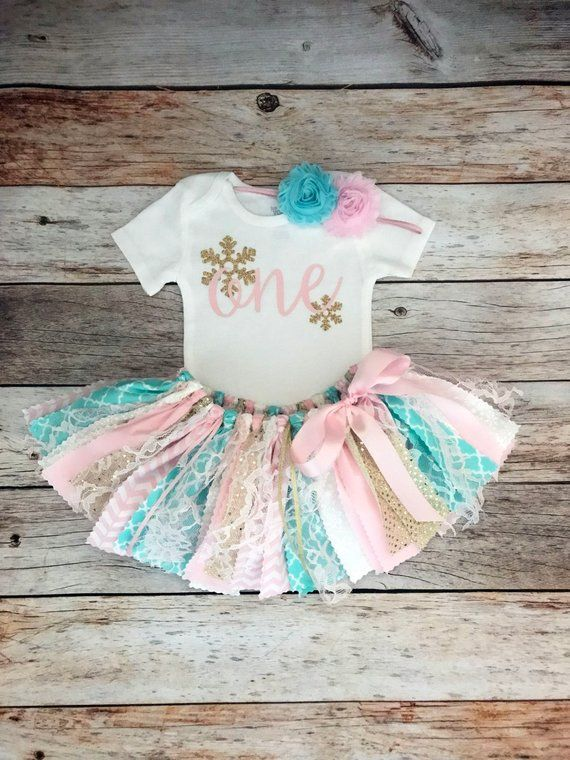 Pink, Aqua and Gold Winter Onederland Birthday Outfit, Pink and Blue Winter Birthday Outfit, Baby Girl Winter Birthday Outfit #birthdayoutfit