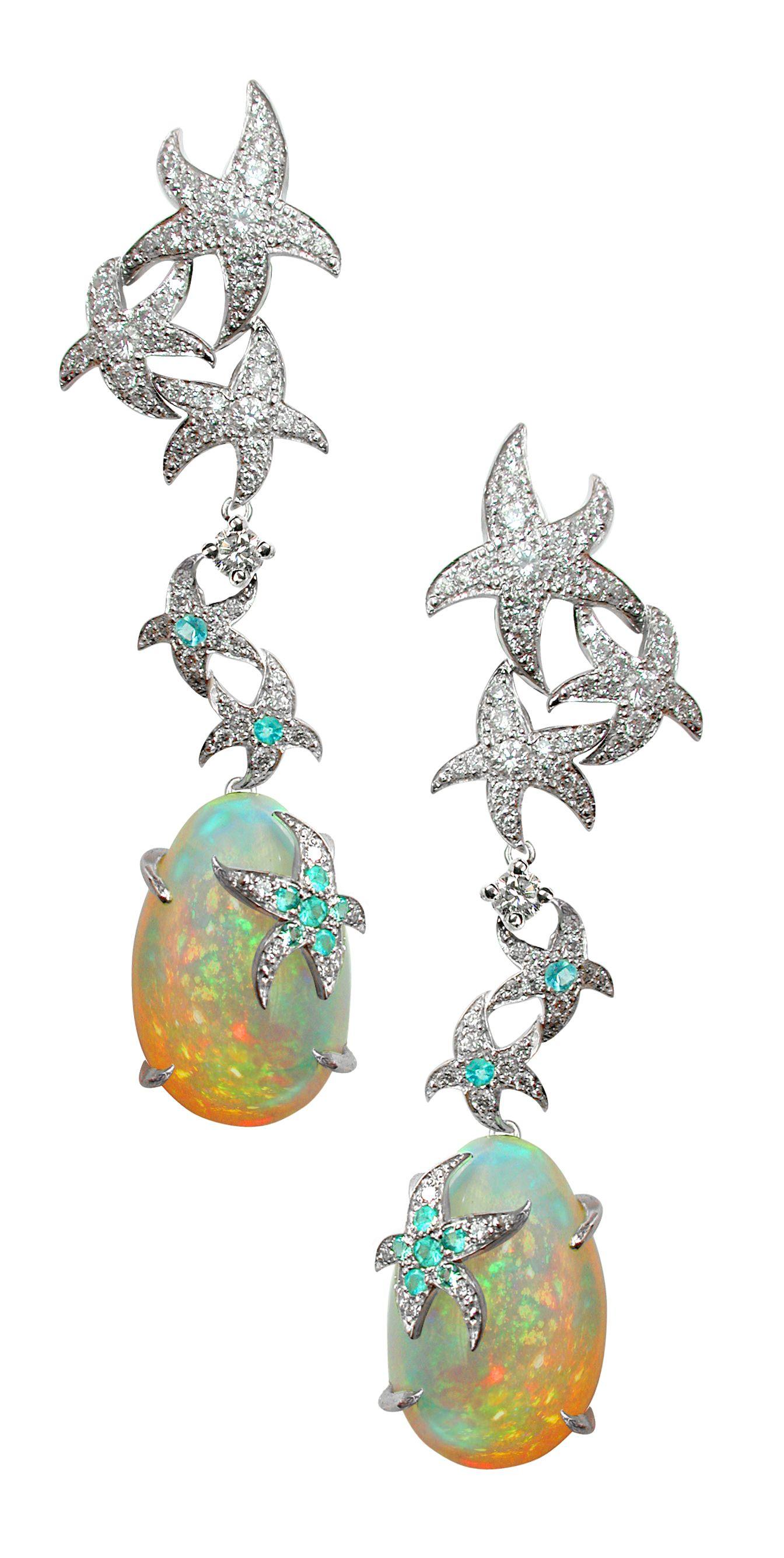Oc 233 Ane Earrings Opals Diamonds Paraiba Tourmalins