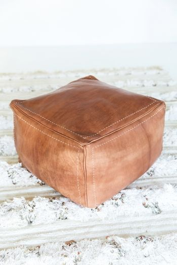 Square Leather Ottoman Deep Tan Leather Ottoman Leather Pouf