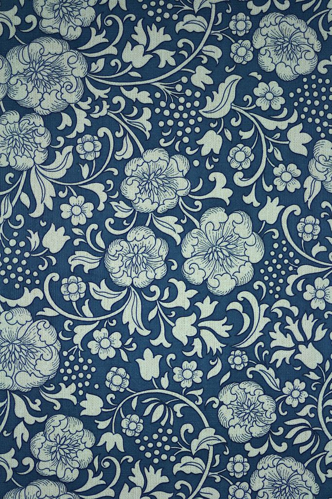 Dark Blue Floral Wallpaper Original Vintage With A Background And White Flowers