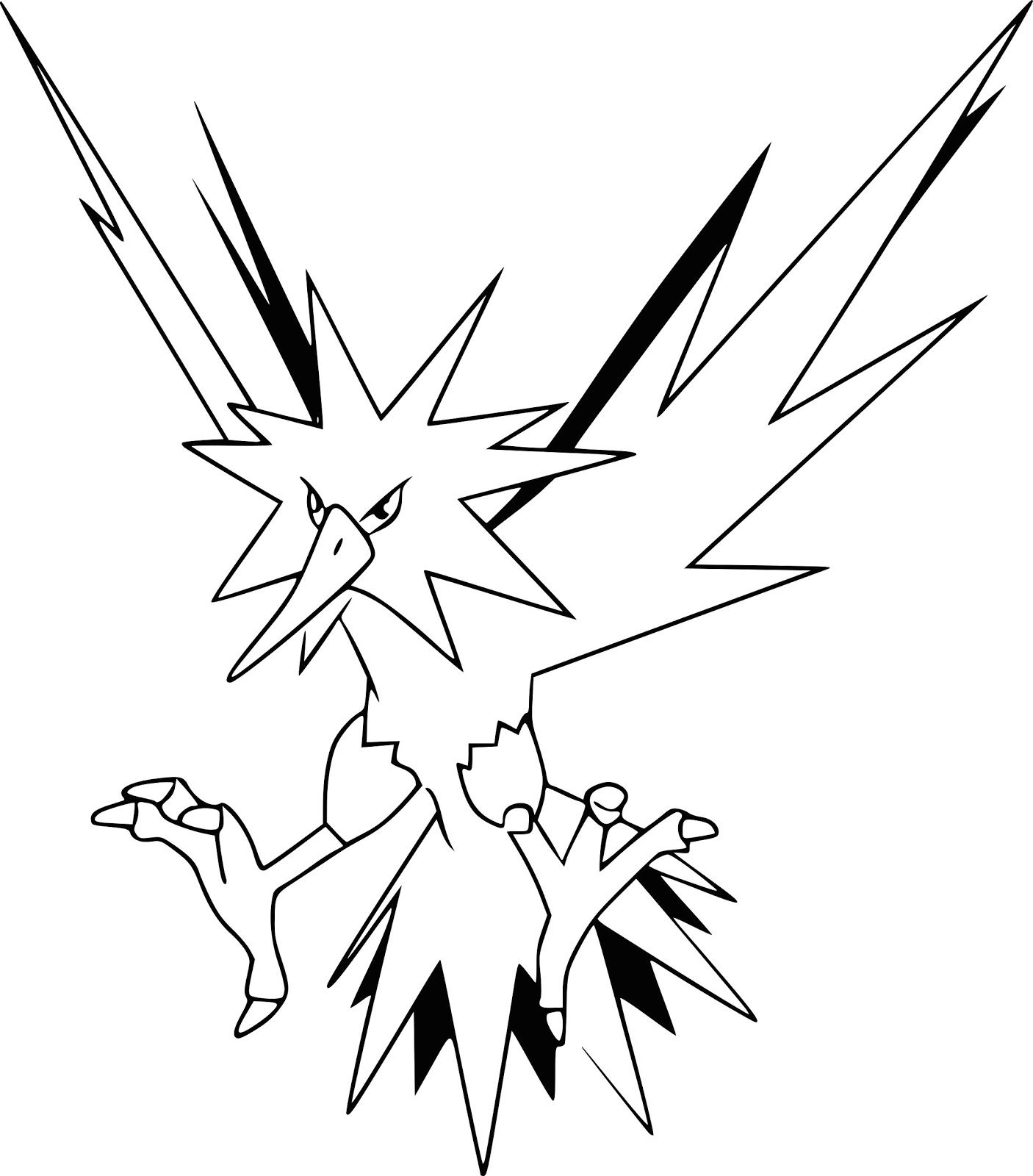 Zapdos Pokemon Coloring Pages Printable Zapdos Pokemon Pokemon