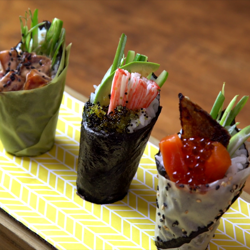 Sushi cones are on a roll! Here are 3 fun ways to make temaki.
