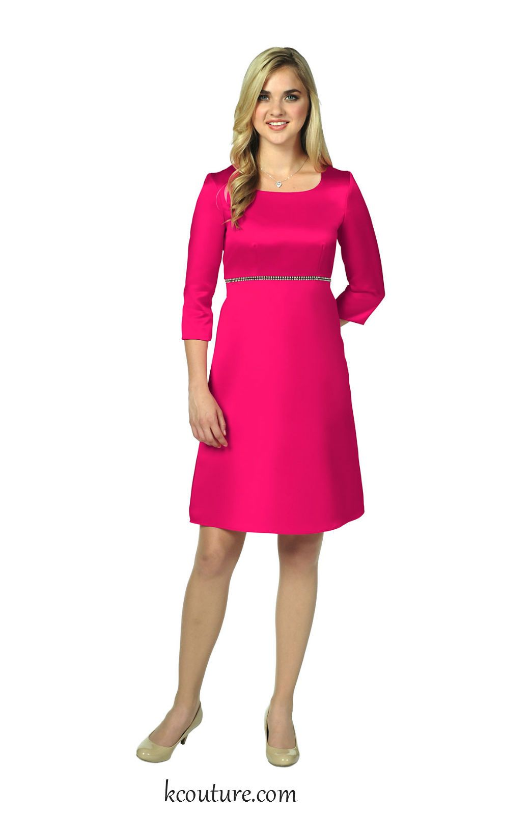 Fushia deluxe satin knee length bridesmaid dress with sleeves
